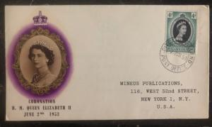 1953 Pitcairn Islands Coronation first day cover FDC QE 2 Queen Elizabeth II Usa