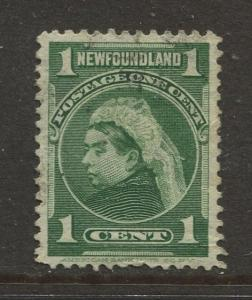 Newfoundland - Scott 80- Pictorial Definitive - 1897 - Used - Single 1c Stamp
