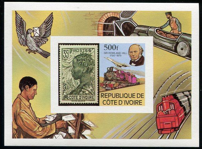 Ivory Coast MNH S/S 519 Sir Rowland Hill & Train SCV 6.75