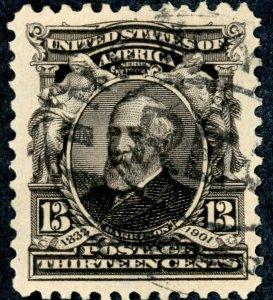 #308 – 1902 13c Benjamin Harrison.  Used Avg.