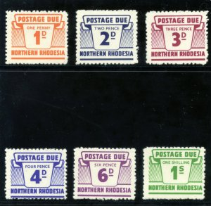 Northern Rhodesia 1963 QEII Postage Dues set complete MLH. SG D5-D10. Sc J5-10.