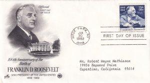 1982, 100th Anniv. Birth Franklin D. Roosevelt, Art Craft/PCS, FDC (E12239)
