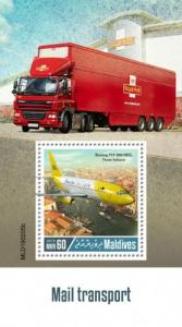 MALDIVES - 2019 - Mail Transport  - Perf Souv Sheet - MNH