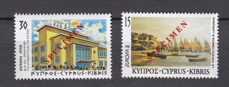 J28411 1998 cyprus mnh specimen set #918-9 views