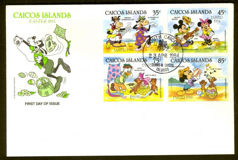 CAICOS ISLANDS 1984 DISNEY EASTER Set Sc 42-45 Cachet FDC