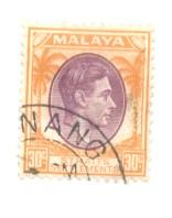 Straits Settlements Sc 247 1937 30 c G VI stamp used