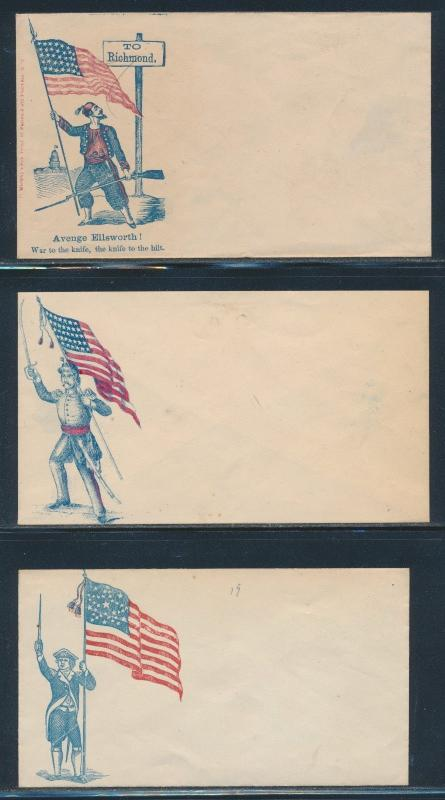 #MR-36 // 86 (SOME FLAWS) UNION CIVIL WAR PATRIOTIC COVERS (10) DIFF. BR4785