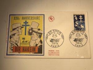 France Colorano silk FDC, 7 oct. 1967, 25e anniversaire Bir-Hakeim 1942-1967