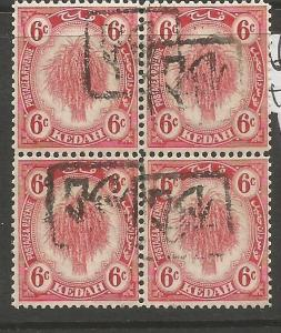 Malaya Jap Oc Kedah Revenue Inverted Overprint Block of 4 MNH (4cwj)