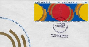COLOMBIA FIRST JAPANESE IMMIGRATION Sc 1157 FDC 1999