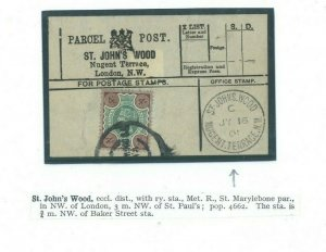 GB PARCEL POST LABEL Superb *Nugent Terrace St.Johns Wood*CDS 1901 London 23a.32