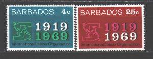 Barbados. 1969. 289-90. The International Labour Organization. MNH.