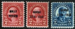 US Sc 646 647 648 Blue Carmine 2¢ 5¢ MNH Original Gum Molly Pitcher Hawaii Ovrpt