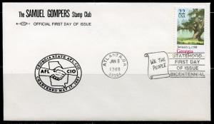 UNITED STATES  GOMPERS 1988 GEORGIA  STATEHOOD  FIRST DAY COVER