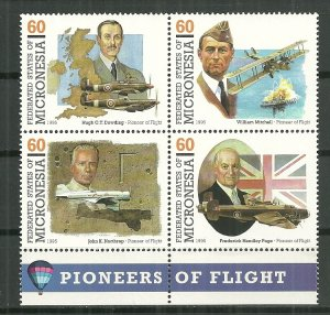 1995 Micronesia 233a-d  Pioneer of Flight uncancelled/NG block of 4