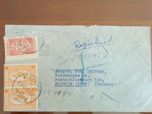 RARE SAUDI ARABIA 1953 REGISTERED COVER CORRECT AIRMAIL RATE 8g+1/8g WITH RARE