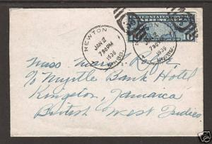 US Sc C7 SE on 1936 cover Newton, Mass to Jamaica, B.W.I.