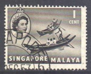 Malaya Singapore Scott 28 - SG38, 1955 Elizabeth II 1c used