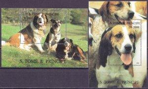 Sao Tome and Principe. 1995. 1548-56 bl327-328. Dogs. MNH.