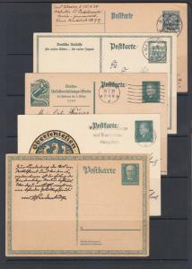 Germany Mi P128/P207 used. 1920-31 Postal  Cards, 5 diff, nice cancels, F-VF