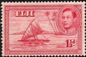 Fiji 119 - Mint-H - 1.5p (EMPTY) Outrigger Canoe (1938) (cv $17.60)