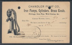 US Sc UX10 Illustrated Advertising Card, Chandler Pump Co, Iron Pumps, Iron Pipe