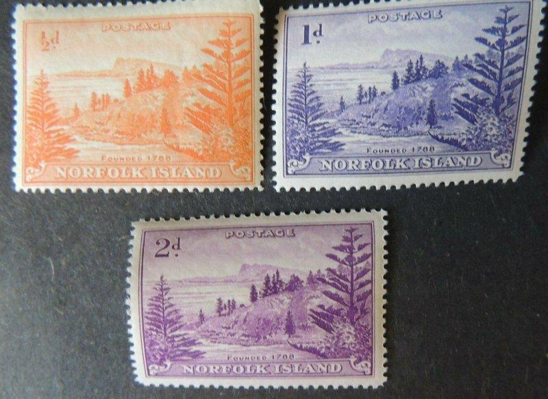 Norfolk Island 1947 views landscapes trees 3v MNH