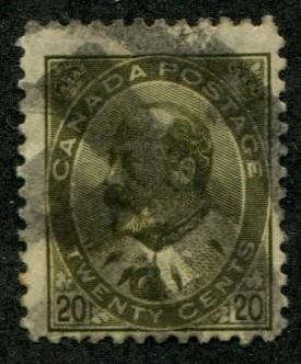 Canada SC# 94 (SG# 186)  Edward VII  20c, Canceled