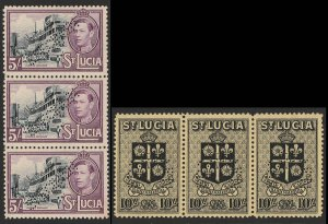 ST. LUCIA : 1938 KGVI Pictorial original set ½d to 10/- SPECIMEN in strips. RARE
