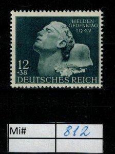 Deutschland Reich TR02 DR Mi 812 1939 Reich Postfrisch ** MNH