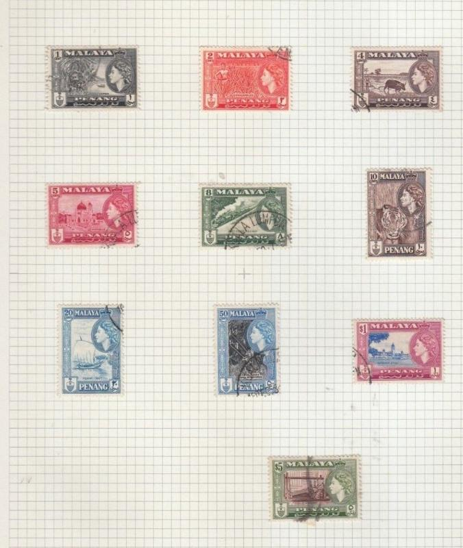 PENANG 1957 PART SET TO $5 USED, 10 OF 11 VALUES