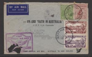 Australia First Flight Cover to New Zealand and Back Plus Photos of Flight