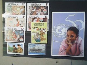 Dominica  MNH  Nice stamps and souvenir sheet including Disney