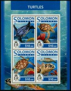 HERRICKSTAMP NEW ISSUES SOLOMON ISLANDS Sc.# 2298 Turtles Sheetlet of 4 Diff.