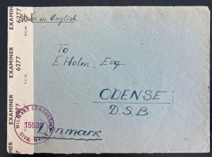 1946 England BAOR Displaced Person G Camp Censored Cover To Odense Denmark