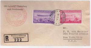 1936 Liechtenstein Hindenburg Zeppelin LZ 129 register cover to USA # C15 C 16