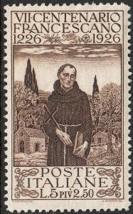 Italy 1926 5l+2.50l Brown St Francis of Assisi MH