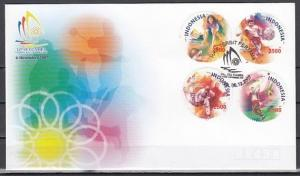 Indonesia, Scott cat. 2127 A-D. SE-Asian Games issue. First day cover.