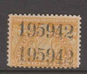 Puerto Rico Revenue fiscal Cinderella stamp 10-15- tnx Perf + Numbers