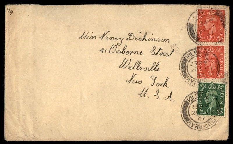 UK 2.5 rate colorful franking on cover a New York USA