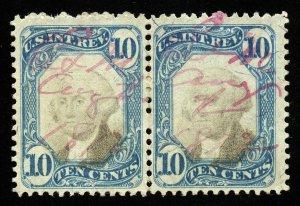 B426 U.S. Revenue Scott R109 10c 2nd issue horizontal pair, magenta cancel