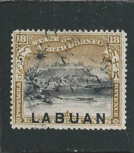 LABUAN 1897-1901 18c OLIVE-BISTRE FU SG 96 CAT £130