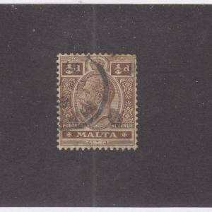 MALTA (MK1027) # 66 VF-USED 1/4d  KING GEORGE V/BROWN WITH CANCEL CAT VALUE $35