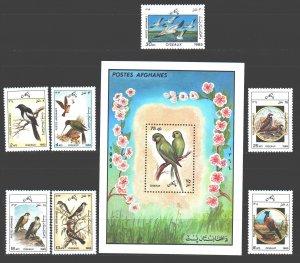 Afghanistan. 1985. 1445-51, bl79. Birds fauna. MNH.