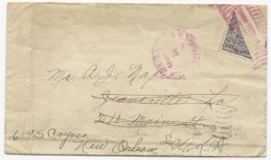 Honduras Scott #190 Bi-Sect Tied on Cover by Pink Cancel FWD 1924