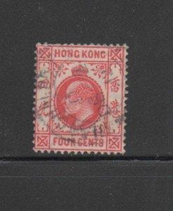 HONG KONG #89  1904  4c  KING EDWARD VII    USED F-VF  b