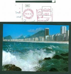 Brazil Postcard 1979. Red Meter Postage 9.50. Address: Sweden