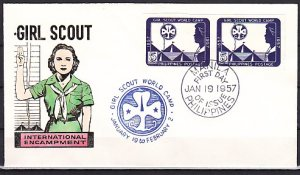 Philippines, Scott cat. 637a. Girl Scout Imperf Pair. First day cover. ^
