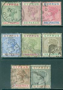 CYPRUS : 1894-96. Stanley Gibbons #40-46, 48 VF, Used. Nice group. Cat £140.00.