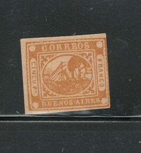 ARGENTINA - BUENOS AIRES 1858 #5 ORANGE C.V. $5,000.00 MNH; PAPER HAS A VERTICAL